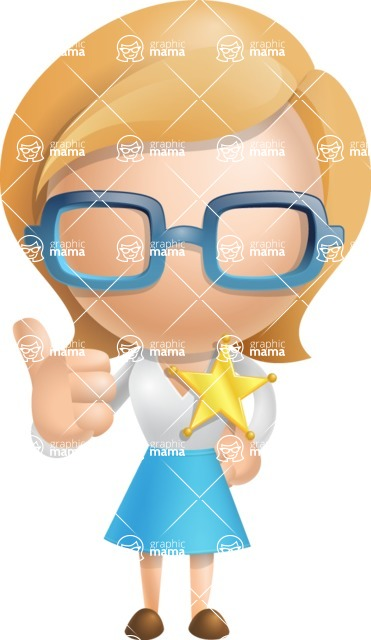 Simple Business Woman Vector 3D Cartoon Character AKA Nerdellina - Sheriff