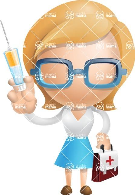 Simple Business Woman Vector 3D Cartoon Character AKA Nerdellina - Doctor