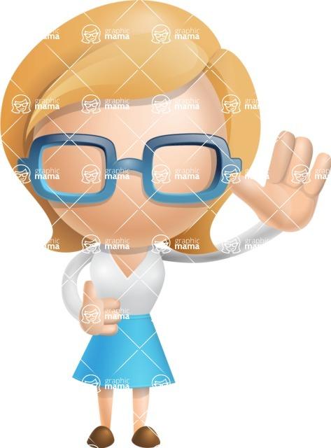 Simple Business Woman Vector 3D Cartoon Character AKA Nerdellina - Wave