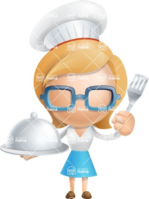 Simple Business Woman Vector 3D Cartoon Character AKA Nerdellina - Chef