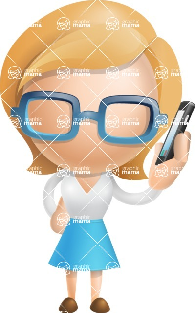 Simple Business Woman Vector 3D Cartoon Character AKA Nerdellina - Support 1