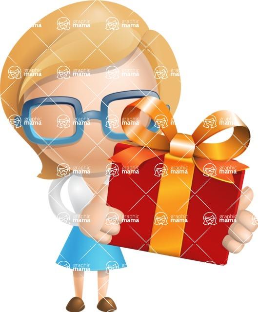 Simple Business Woman Vector 3D Cartoon Character AKA Nerdellina - Gift