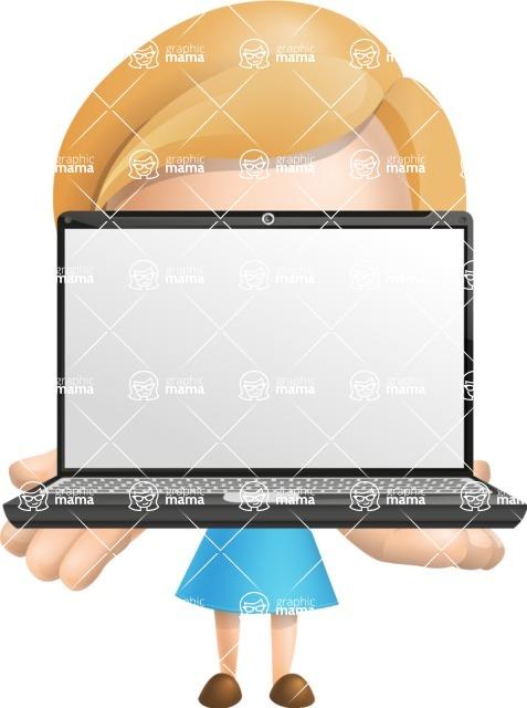 Simple Business Woman Vector 3D Cartoon Character AKA Nerdellina - Laptop 1