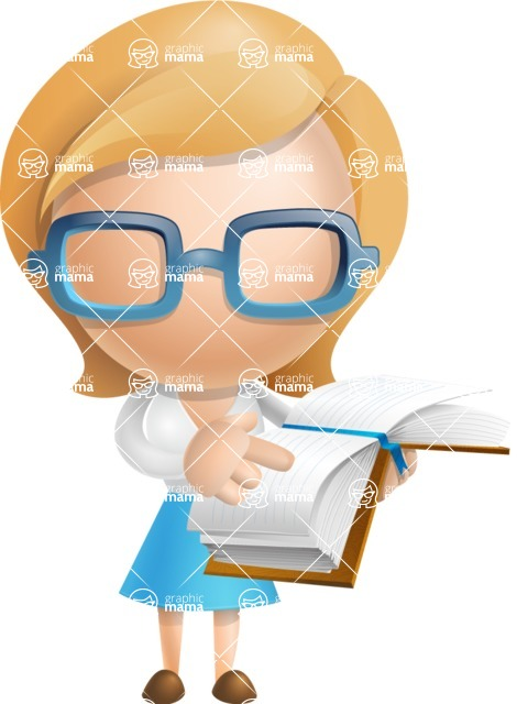 Simple Business Woman Vector 3D Cartoon Character AKA Nerdellina - Book 1