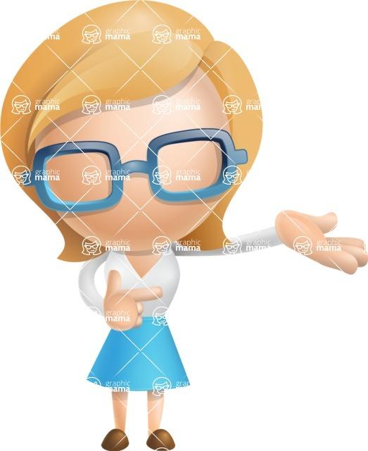 Simple Business Woman Vector 3D Cartoon Character AKA Nerdellina - Showcase