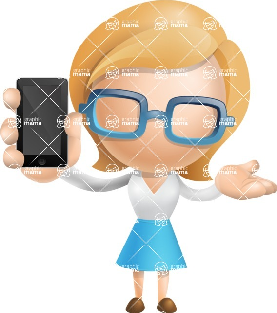 Simple Business Woman Vector 3D Cartoon Character AKA Nerdellina - iPhone