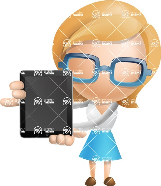 Simple Business Woman Vector 3D Cartoon Character AKA Nerdellina - iPad 1