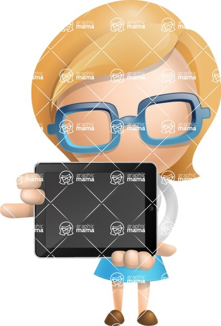 Simple Business Woman Vector 3D Cartoon Character AKA Nerdellina - iPad 2