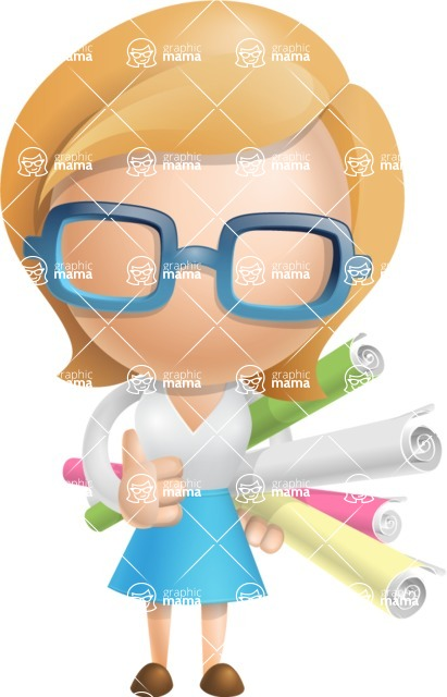 Simple Business Woman Vector 3D Cartoon Character AKA Nerdellina - Papers