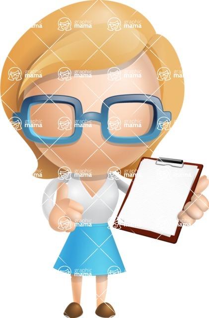 Simple Business Woman Vector 3D Cartoon Character AKA Nerdellina - Notepad 2