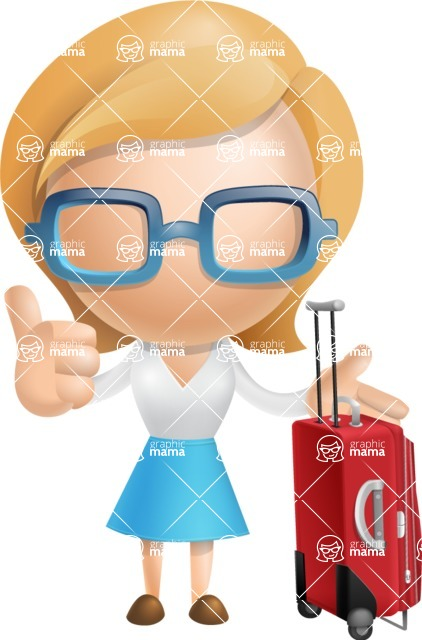 Simple Business Woman Vector 3D Cartoon Character AKA Nerdellina - Travel