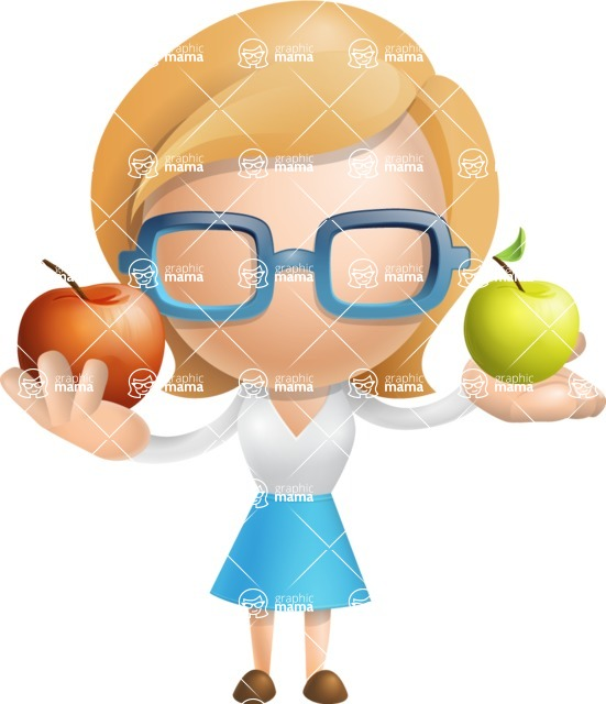 Simple Business Woman Vector 3D Cartoon Character AKA Nerdellina - Apples