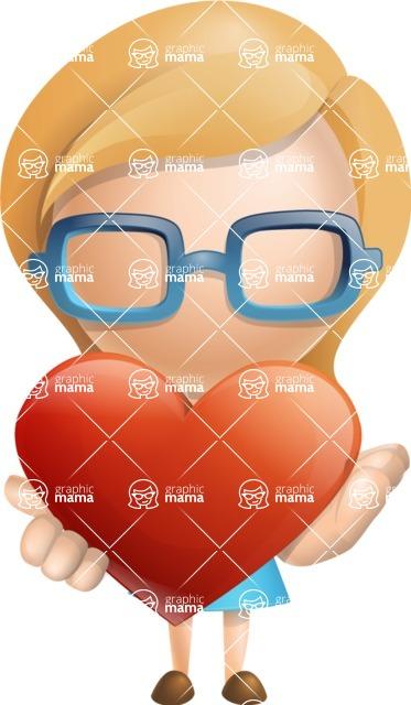 Simple Business Woman Vector 3D Cartoon Character AKA Nerdellina - Love