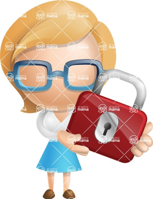 Simple Business Woman Vector 3D Cartoon Character AKA Nerdellina - Lock