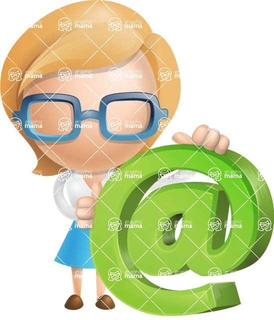 Simple Business Woman Vector 3D Cartoon Character AKA Nerdellina - Email