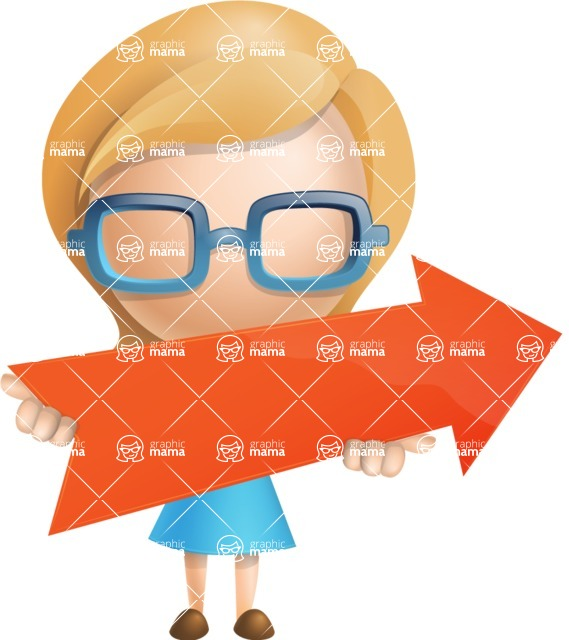 Simple Business Woman Vector 3D Cartoon Character AKA Nerdellina - Arrow 2