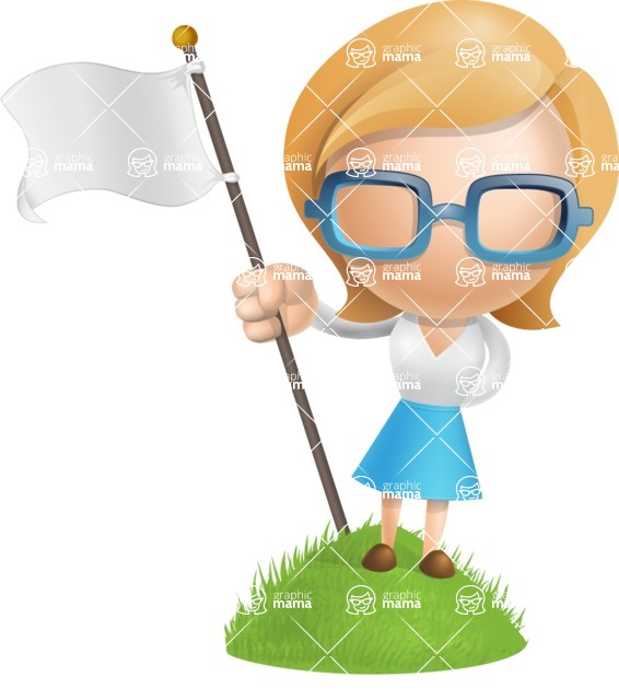 Simple Business Woman Vector 3D Cartoon Character AKA Nerdellina - On Top
