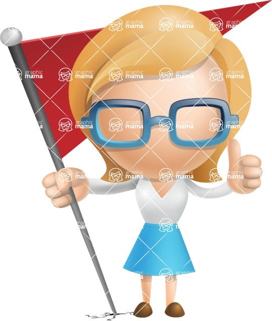 Simple Business Woman Vector 3D Cartoon Character AKA Nerdellina - Checkpoint