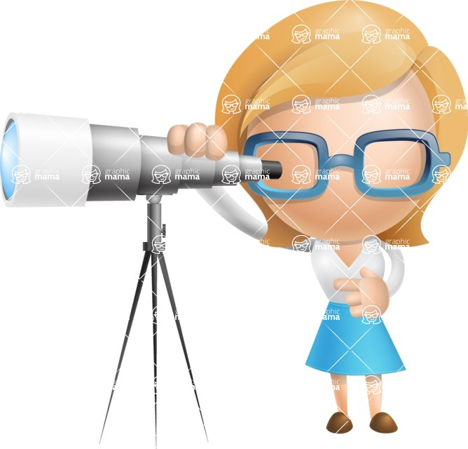 Simple Business Woman Vector 3D Cartoon Character AKA Nerdellina - Telescope
