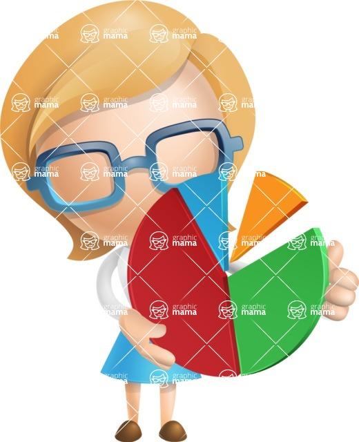 Simple Business Woman Vector 3D Cartoon Character AKA Nerdellina - Chart