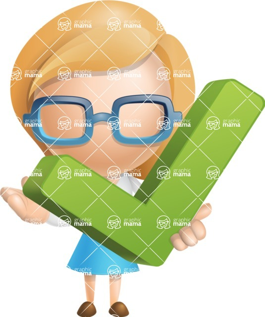 Simple Business Woman Vector 3D Cartoon Character AKA Nerdellina - Check
