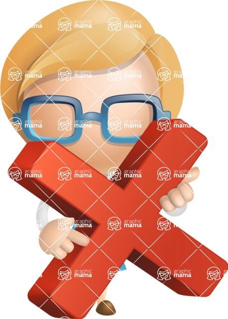 Simple Business Woman Vector 3D Cartoon Character AKA Nerdellina - Delete
