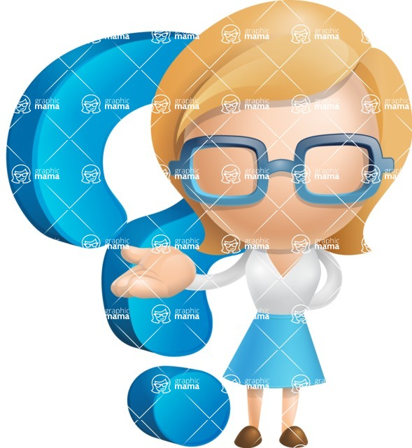 Simple Business Woman Vector 3D Cartoon Character AKA Nerdellina - Question