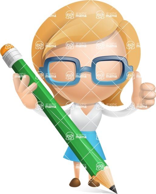 Simple Business Woman Vector 3D Cartoon Character AKA Nerdellina - Pencil