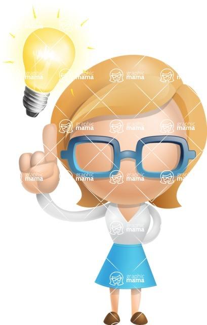 Simple Business Woman Vector 3D Cartoon Character AKA Nerdellina - Idea