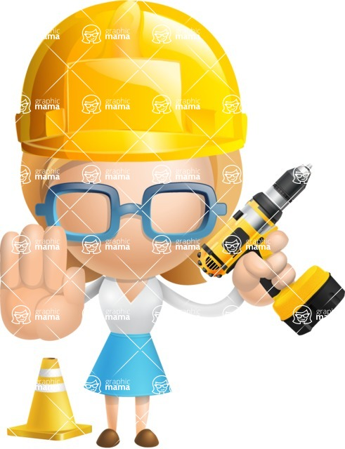 Simple Business Woman Vector 3D Cartoon Character AKA Nerdellina - Under Construction 2