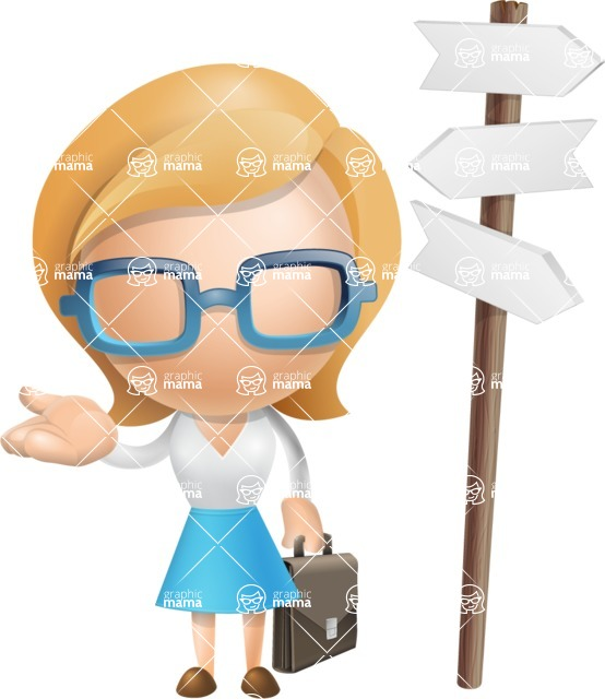 Simple Business Woman Vector 3D Cartoon Character AKA Nerdellina - Crossroad