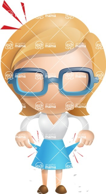 Simple Business Woman Vector 3D Cartoon Character AKA Nerdellina - No Money
