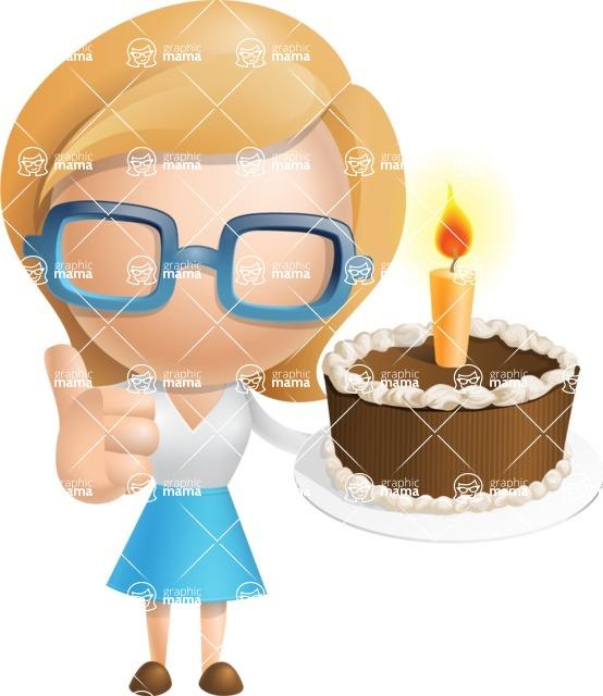 Simple Business Woman Vector 3D Cartoon Character AKA Nerdellina - Cake