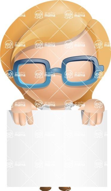 Simple Business Woman Vector 3D Cartoon Character AKA Nerdellina - Sign 1