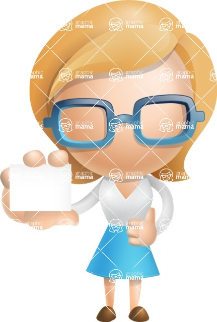 Simple Business Woman Vector 3D Cartoon Character AKA Nerdellina - Sign 5