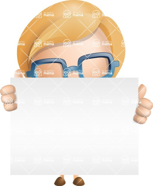 Simple Business Woman Vector 3D Cartoon Character AKA Nerdellina - Sign 6