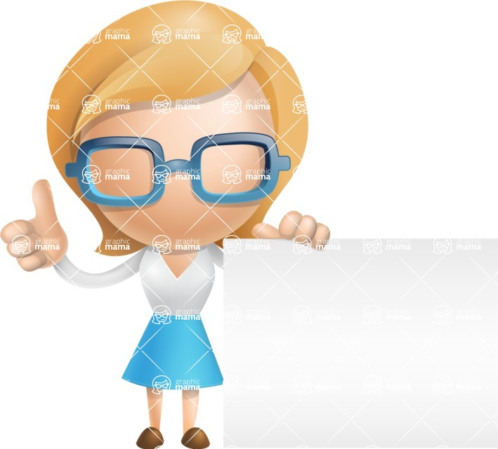Simple Business Woman Vector 3D Cartoon Character AKA Nerdellina - Sign 7