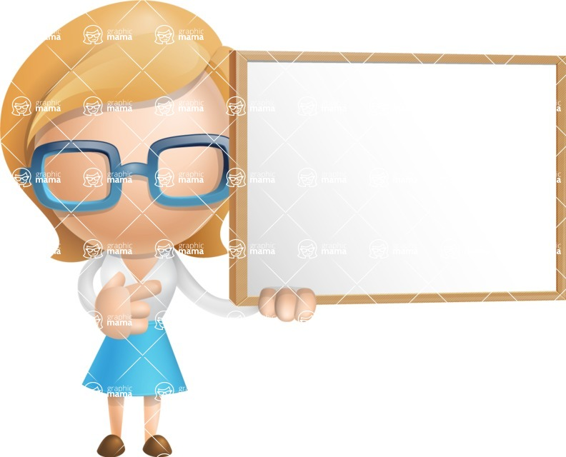 Simple Business Woman Vector 3D Cartoon Character AKA Nerdellina - Sign 9