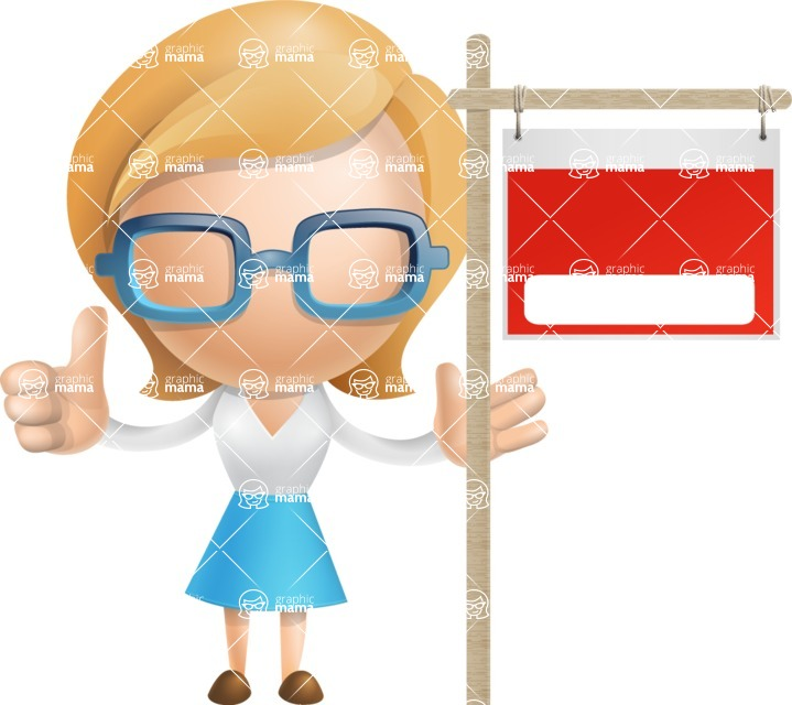 Simple Business Woman Vector 3D Cartoon Character AKA Nerdellina - Sign 10