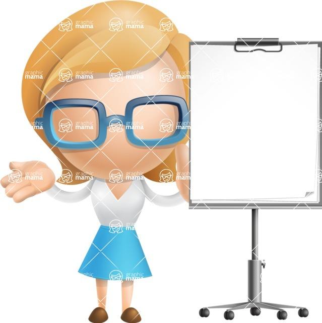 Simple Business Woman Vector 3D Cartoon Character AKA Nerdellina - Presentation 1