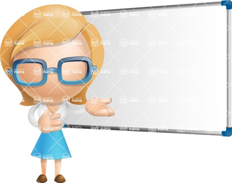 Simple Business Woman Vector 3D Cartoon Character AKA Nerdellina - Presentation 3