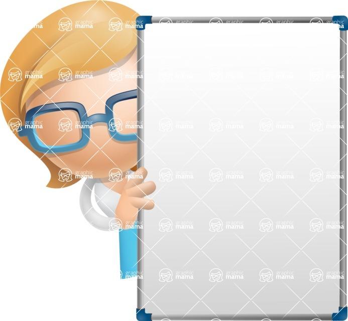 Simple Business Woman Vector 3D Cartoon Character AKA Nerdellina - Presentation 4