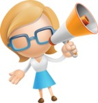 Simple Business Woman Vector 3D Cartoon Character AKA Nerdellina - Loudspeaker