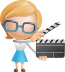 Simple Business Woman Vector 3D Cartoon Character AKA Nerdellina - Movie