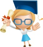 Simple Business Woman Vector 3D Cartoon Character AKA Nerdellina - Graduation