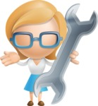 Simple Business Woman Vector 3D Cartoon Character AKA Nerdellina - Repair