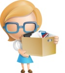 Simple Business Woman Vector 3D Cartoon Character AKA Nerdellina - Box