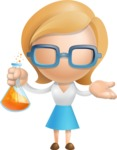 Simple Business Woman Vector 3D Cartoon Character AKA Nerdellina - Flask