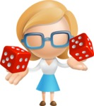 Simple Business Woman Vector 3D Cartoon Character AKA Nerdellina - Lucky