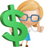Simple Business Woman Vector 3D Cartoon Character AKA Nerdellina - Dollar